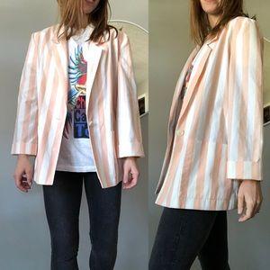 Vintage pink white striped boyfriend blazer